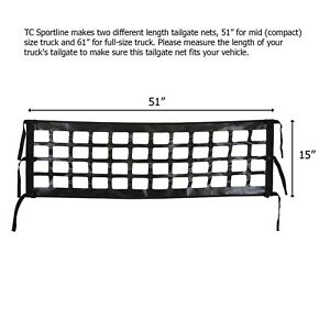 Brand New Compact Mid Size Truck Pick Up Tailgate Net 51 X 15