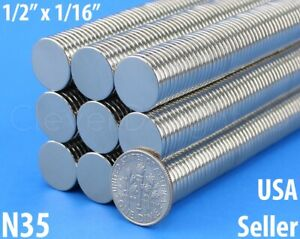 Neodymium Magnets 1 2 X 1 16 N35 Disc Magnet Crafts Strong 13mm X 1 5mm