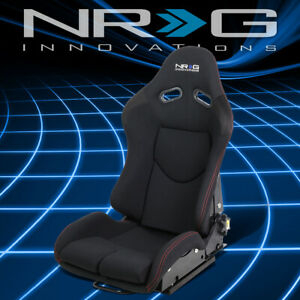 Nrg Innovations Universal Fabric Reclinable Racing Seat Red Stitch Rsc 400bk