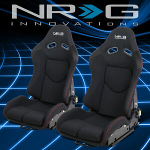 Nrg Innovations Pair Universal Fabric Reclinable Racing Bucket Seat Rsc 400bk