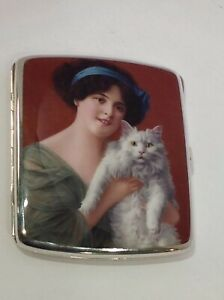 Sterling Silver Enamel Cigarette Case Lady With Cat 935 Silver Germany
