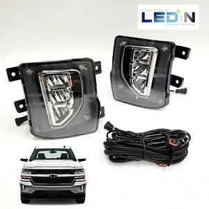 Led Clear Lens Fog Light For 2016 2018 Chevy Silverado 1500 Switch Wire Harness