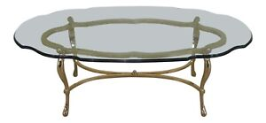 F31205ec Labarge Solid Brass Base Glass Top Coffee Table