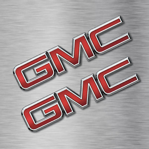 Two Gmc Logo Stickers Vinyl Decals Vehicle Car Wall Laptop General Motors New
