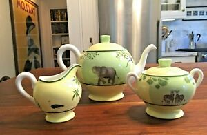 Hermes Africa Green Porcelain Tea Set Teapot Creamer Sugar Bowl