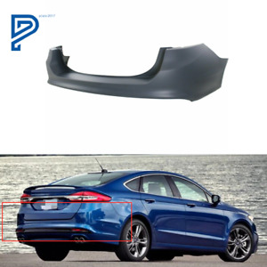 New Primered Rear Bumper Cover Replacement For 2013 2018 Ford Fusion W o Park