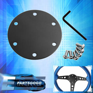 Universal 6 Bolt Hole Black Steering Wheel Horn Delete Plate With Silver Screws