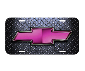 Chevy Chevrolet Pink Bowtie License Plate Truck New Diamond Plate Silverado New