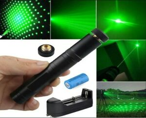 900miles Laser Pointer Rechargeable Pen Black 532nm Military Battery charger cap