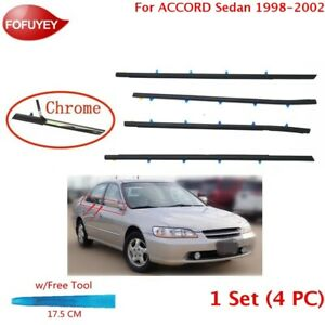 For Accord Sedan 1998 02 Window Weatherstrip 4pc Sweep Molded Trim Outer Chrome