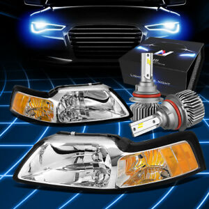 Fit 1999 2004 Ford Mustang Euro Signal Headlight W led Hid Kit Slim Style Chrome