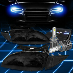 Fit 1995 1999 Chevy Cavalier Oe Style Headlight Lamp W led Kit cool Fan Smoked