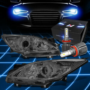 For 2010 2013 Mazda 3 Smoked Clear Corner Projector Headlight W Led Kit Cool Fan