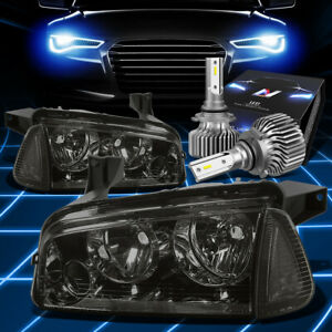 Fit 2006 2010 Dodge Charger Lx Turn Corner Headlight W Led Kit Slim Style Smoked