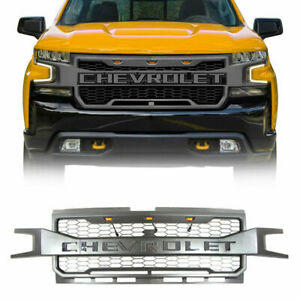 Front Grille For Chevrolet Silverado 1500 2019 2020 With Letter 3 Amber Lights