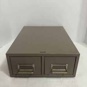 Steelmaster 2 Two drawer Index Library Card File Filing Cabinet Beige Metal