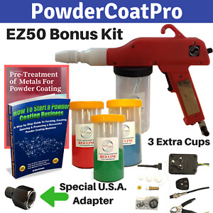 Redline Ez50 Powder Coating Cup Gun With Bonus Cups And U s a Air Adapter
