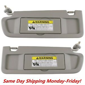 Sun Visor Light Gray Clear Gray Pair For 2006 2008 Honda Civic Left Right Set