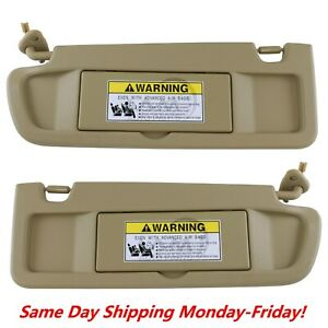 Sun Visor Pearl Ivory Tan Pair Right Left For 2006 2008 Honda Civic Visor Set