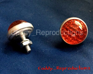Glass Domed Vintage Style License Plate Fastener Pair Reflectors Pair