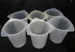 Laboratory 1000ml Semi frosted Graduated Plastic Beakers 6 Piece Set