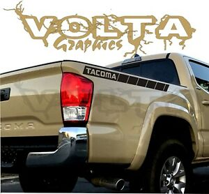 2x Rear Bedside Vinyl Decals For Toyota Tacoma 2004 2020 Racing Stripes Graphics
