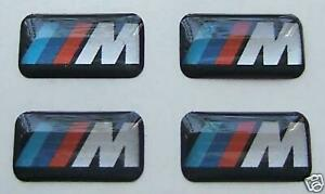 4x Bmw M3 M5 3d Sticker Set Rims Wheels Badge Emblem Black 18x10mm Usa