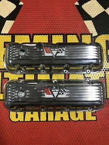 Chevrolet Corvette Logo 454 Chrome Aluminum Valve Covers Big Block Very Nice New