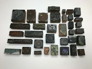 Letterpress Print Type Wood Block Stamp Lot 35 Pieces