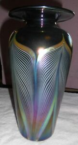 Durand Vase Art Deco Glass Vase Iridescent Pulled Feather