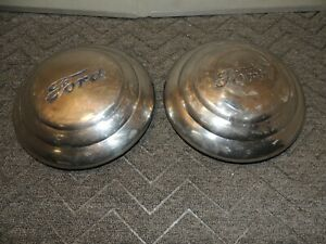 Pair Vintage Ford Baby Moon Dog Dish Hubcaps