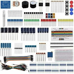 Electronic Component Base Fun Kit Bundle With Breadboard Cable Resistor Capacito