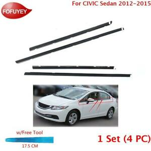 For Civic Sedan 2012 2015 Window Weatherstrip 4pc Sweep Molded Trim Outer Black