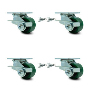 3 25 Poly On Cast Iron Caster 2 Swvl W side Brk Bsl And 2 Swvl W bsl Scc