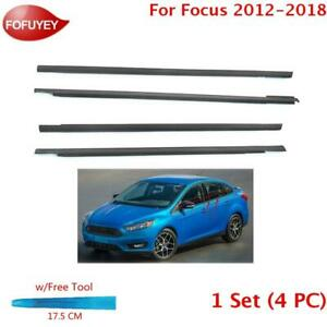 For Focus 2012 2018 Window Weatherstrip 4pc Sweep Felt Molded Trim Outer Black