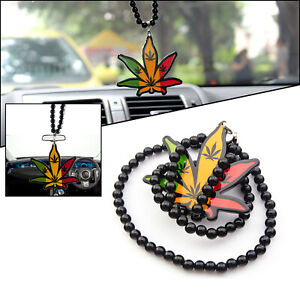 Cannabis Leaf Car Auto Rearview Mirror Hanging Charm Dangling Pendant Ornament