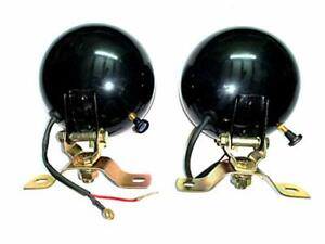 Massey Ferguson Tractor Black Plogh Lamps l r Pair With 12v Bulbs For Mf 35 50