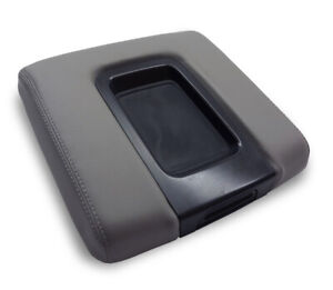 For 14 19 Chevrolet Silverado Faux Leather Center Console Lid Armrest Cover Gray