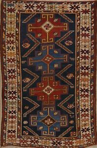 Pre 1900 Antique Vegetable Dye Hand Knotted Shirvan Geometric Wool Area Rug 3x5