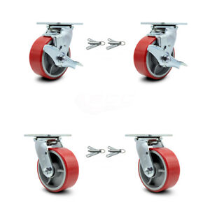 5 Red Poly On Cast Iron Caster 2 Swvl W top Brk Bsl And 2 Swvl W bsl Scc