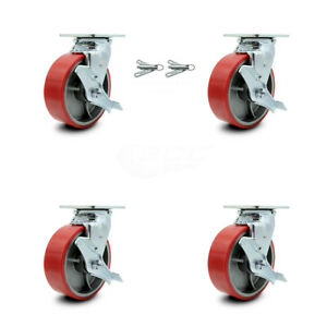 6 Red Poly On Cast Iron Caster 2 W top Lock Brk Bsl And 2 W top Lock Brk scc
