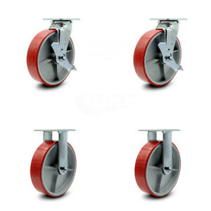 8 Red Poly On Cast Iron Caster 2 W top Lock Brk bolt On Swvl Lock 2 Rigid scc