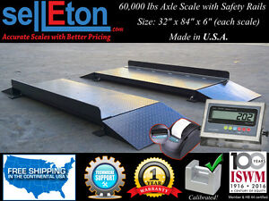 New 60 000 Lbs Axle Truck Scale With Safety Rails 32 X 84 X 6 With Printer