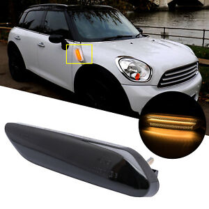 Amber Smoke Fender Side Marker Lamp Light Bar For Mini Cooper Countryman R60 R61