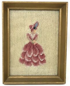 Antique Victorian Lady Embroidered Needlepoint Gold Picture Framed Finshed