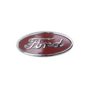 8n16600b Front Hood Grille Emblem Chrome Plate Letters Red Background Fits Ford