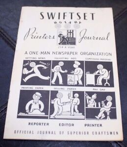 Vintage 1950 Swiftset Rotary Printing Press Toy Journal Collectible Booklet