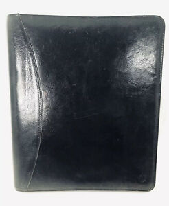Franklin Covey Planner Classic Black Zippered 7 Ring Binder Full Grain Leather