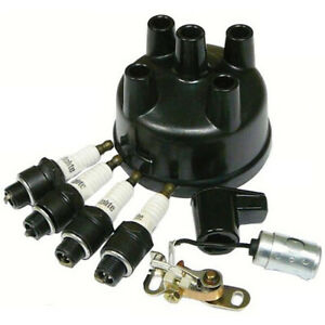 Tune up Kit W Points Condenser Rotor Button Cap Plugs Fits Ford Naa 600 800 900