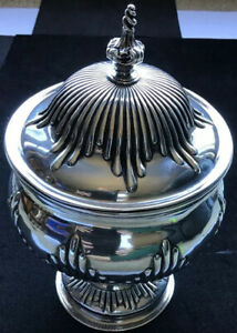 C 1770 English William James Priest Sterling Silver Lidded Bowl Urn Beautiful